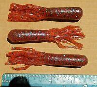 "25ct PLUM CRAZY 3.5"" Hollow TUBES Tubebaits Bass Fishing Baits Flipping Tubes"