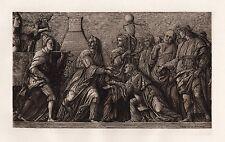 "Powerful MANTEGNA 1800s Antique Etching ""Triumph of Scipio"" Framed SIGNED COA"