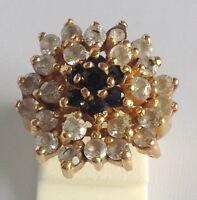 bague bijoux plaqué or 18k poinçonnée fiançailles oxyde diamant saphir T.50