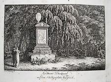 Zürich Gessners Denkmal Schützenplatz  Schweiz  alter  Kupferstich 1820 Nr. 2