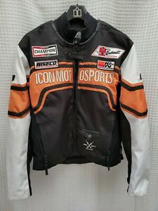 Icon Motorsports Brawnson Sidewinder Motorcycle Jacket Size XLarge Orange Black
