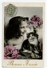 c 1905 French Children Cute Girl w/ Her Cat photo postcard