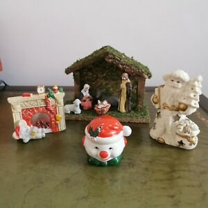 Vintage Christmas Ornaments. Nativity Scene, Candle Holders.