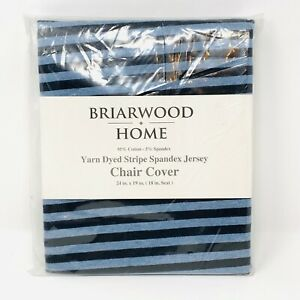 """Briarwood Home Chair Cover Blue Navy Blue Stripe Spandex Jersey for 18"""" seat"""