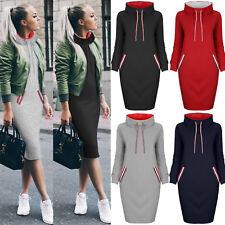 UK Womens Hoody Sweatshirt Sweater Ladies Hoodies Knee Jumper Winter Dresses