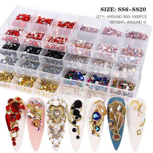 1 Box Mixed Size Glass Nail Art Rhinestones Flatback AB Crystal 3D Gems Manicure