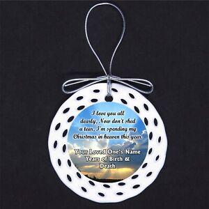 Christmas in Heaven CUSTOM Porcelain Ornament Gift Death Loss Memorial