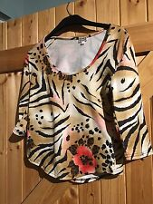 """Top By Etam Size 12 Golden Beige With Black & Pink Patterning Chest 34""""/ 36"""""""