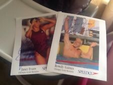 Rowdy Gaines & Janet Evans Signed Autographed Speedo Promo Approx 8 X 10