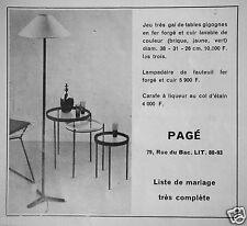 PUBLICITÉ 1957 PAGÉ TABLES ET LAMPE EN FER FORGÉ CARAFE A LIQUEUR