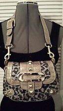 Fancy Guess Purse, Animal Print with Gold Trim, Small Bag - Wide shoulder Strap