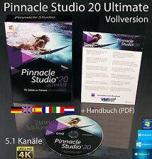 Pinnacle Studio 20 Ultimate Vollversion Box + DVD 4K Videosoftware +Handbuch NEU