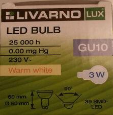 LED Lampe GU10 3W 3000K warm weiß white 39 SMD LED Livarno Lux