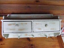 Country Style Wooden 2 Drawer Wall Shelf with 3 hooks. Aged,Primitive.
