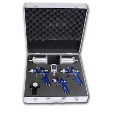 3x HVLP Lackierpistole Spritzpistole + Koffer 1,7 + 1,3 + 0,8 mm