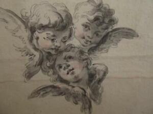 English Antique 18th Century OLD MASTER DRAWING of Three Cherubs - BEAUTIFUL