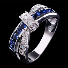 Cross Sapphire Ring White Gold Filled Wedding Jewelry Band Size 6-10