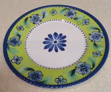 Cynthia Rowley Set Of 4 Floral Dinner Plates Lime Green, Blue Border, White
