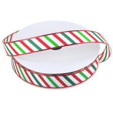 Candy Striped Polyester Christmas Ribbon, 5/8-Inch, 25-Yard