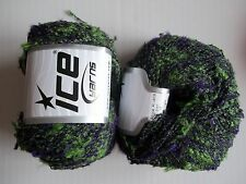 Angie Alpaca boucle yarn by Ice Yarns, green/purple, lot of 2, (247 yds each)