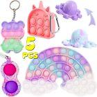 5 Pack Fidget Toys Set Autism Stress Relief Popit Push Bubble Keychain Game Gift