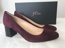 New J.Crew Lucite Block Heels Suede vintage cabernet red F5959 Size 10 Shoes