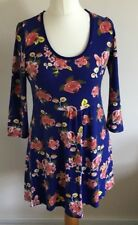 Tu Size 12 Ladies Blue Dress With Pink Floral Print, Casual Summer Sun Day