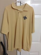 Men's Antigua New Orleans Saints Gold Short Sleeve Polo Size 2XL