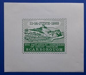 "1963 ""45th Philatelic Congress"" Scarborough Philatelic Society stamp sheet"