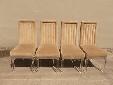 4 STUNNING 1970'S UPHOLSTERED CHROME EDGED AND LUCITE LEG DINING CHAIRS P