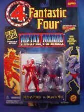 "MARVEL FANTASTIC FOUR 4 METAL MANIA DIE-CAST 2.75"" HUMAN TORCH VS. DRAGON MAN!!"