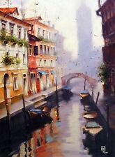"""Vakhtang """"Morning Clock Tower"""" Boats Canal Front Hand Embellished Giclee Canvas"""
