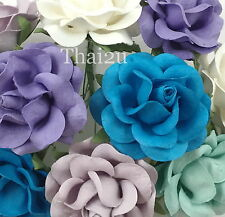 25 Purple Aqua Turquoise White Paper Flower Wedding Scrapbook DIY Rose R77-626