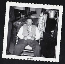 Antique Vintage Photograph Man Sitting in Chair in Cool Old Retro Living Room
