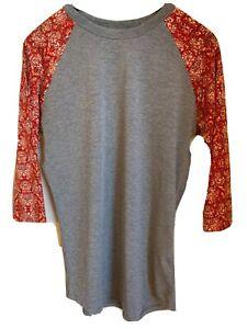 Lularoe Womens size S Randy Shirt Gray Red Floral 3/4 Sleeve Baseball