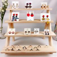 Naturholz Schmuck Veranstalter Display Stand, Halskette Armband Ohrringe Display