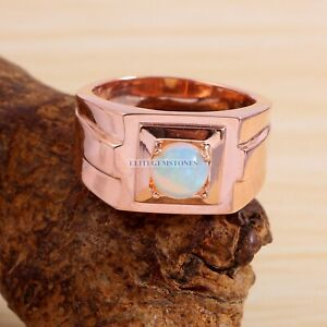 Natural Opal Gemstone with Rose Gold Plated 925 Sterling Silver Mens Ring EG1485