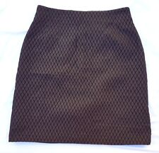 EX CON Cacharel Size 42 (10) Skirt Designer Brown Quilted Mini Pencil Chic Rare