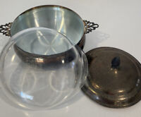 Vintage Pyrex Casserole Serving Dish With Lid And Silver Plated Carrier