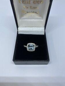 Art Deco Aqua Marine & Diamond Ring. 2.40ct