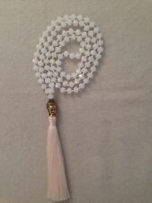 Hand Knotted Long White Glass Crystal Bead Buddha Pendant Beige Tassel Necklace