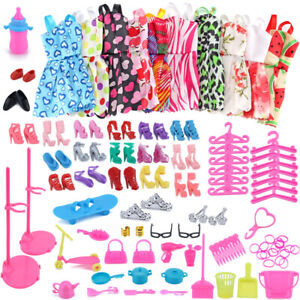 85pcs/Set Barbie Doll Dresses Shoes&jewellery Clothes Accessories Dress Up Game