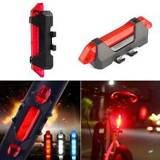 5 LED Bicycle Cycling Tail USB Rechargeable Red Warning Light Bike Rear Lamp US