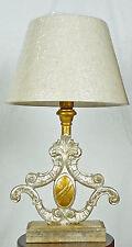 Lampada da tavolo antico legno colore foglia oro argento paralume italy art.688