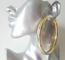 Gorgeous! HUGE! GOLD tone CHUNKY oversized PLAIN shiny hoop earrings * NEW *