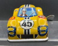 Vintage Japanese Tinplate Windup Ford Racing Car - Works Great