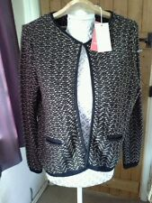 VERY STYLISH LADIES MONSOON BLACK AND BROWN WOOL JACKET, SIZE 14 BNWT