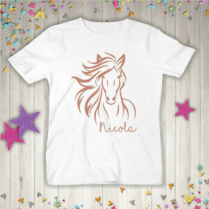 Horse personalised Kids t shirt Girls horse lovers Top Name Various colours UK
