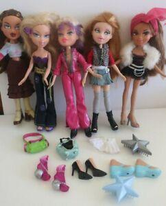 Bulk 6 BRATZ DOLLS Yasmin Chloe Dana Meygan Jade CLOTHES SHOES ACCESSORIES bags