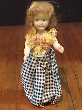 """Vintage 7.5"""" Plastic Doll Girl in Checkered Dress"""